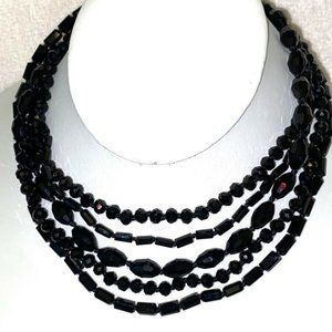 "Carolee BLACK Crystal Multi Necklace Chain 15"" #54"